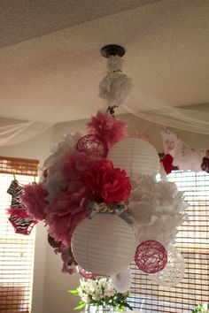 Pink paper chandelier