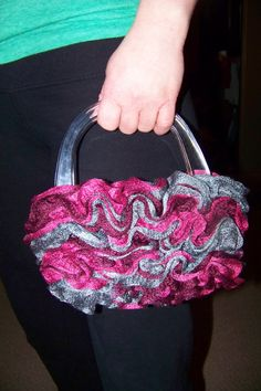 Pretty ruffled hand knit  purse by JennuinelyUnique on Etsy, $25.00
