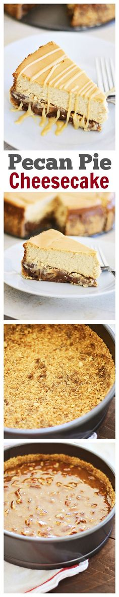 Pecan Pie Cheesecake:  Rich, creamy, and sinfully decadent cheesecake loaded with pecan and syrup. An absolutely ~amazing~ cheesecake that everyone wants more of!