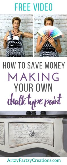 How to make your own chalk type paint - save money using brand name chalk paints and cut your supply cost for painting furniture - Budget Saving Painting Tips and Tricks by Cheryl Phan - Furniture Makeover Ideas - Inexpensive furniture flips and transformations - paint ideas