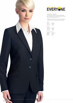 FINCHLEY JACKET A contemporary jacket with a fashionable peaked lapel. Mid length with a centre vent. Ideal for women who want a stylish jacket at work. #workuniformsdirect #uniform #corporate #business #fashion