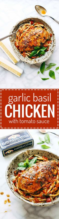 Garlic Basil Chicken with Tomato Butter Sauce - you won't believe that this real food recipe only requires 7 simple ingredients:… Best Chicken Recipes, Real Food Recipes, Cooking Recipes, Healthy Recipes, Icing Recipes, Chickpea Recipes, Pudding Recipes, Bean Recipes, Sausage Recipes