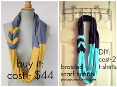 DIY tshirt scarf; great instructions
