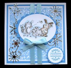 Hand made Xmas Card using Penny Black Snow Fun - Silver version