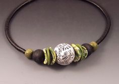 """""""Chinese Necklace - Graphic Lime"""" Polymer Clay Necklace  Created by Loretta Lam Patterned and textured polymer beads strung on African heishi with a copper clasp."""