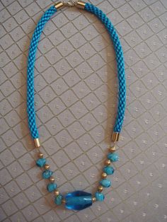 Kumihimo necklace in turquoise blue by LunasCottage on Etsy