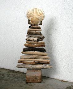 Driftwood Christmas Tree with Seashell, Rustic Chic Decor, Beach Home Decor, Christmas Decor