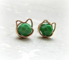 Green Turquoise Studs Kitty Cat Stud Earrings by ContempoJewelry, $20.00