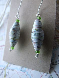 Vintage Map Paper Handmade Paper Bead Earrings by AnnataTesoro, £5.00