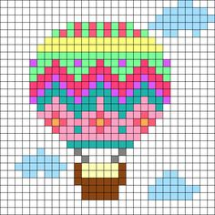 globo aerostático Hot Air Balloon Perler Bead Pattern