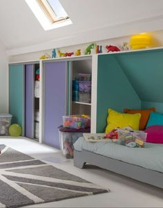 A children's room under the stars - baby room Attic Playroom, Attic Rooms, Attic Spaces, Kid Spaces, Kids Room Design, Interior Design Living Room, Interior Exterior, Girls Bedroom, Baby Room