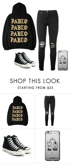 """""""-"""" by worstbiebehavior ❤ liked on Polyvore featuring AMIRI, Converse, converse and boybye"""