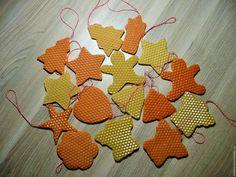 Купить Елочные игрушки из вощины, авторский дизайн, набор 6 шт - желтый, елочные игрушки