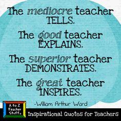 Quotes for Teachers: The great teacher inspires.   A to Z Teacher Stuff Tips for Teachers