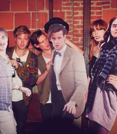 doctor who, comic-con 2012, I love that they drew all over their faces :)