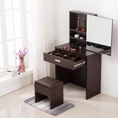 Generous and simple dressing table give you a elegant feeling and can good match your room style. On the surface is a mirror, inside have large storage. Bedroom Furniture Design, Dressing Table Design, Furniture, Makeup Desk With Mirror, Home Furniture, Table Design, Cupboard Design, Makeup Table With Mirror, Home Decor Furniture