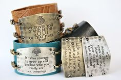 Lenny and Eva wide leather cuff  Choose your cuff, then choose your sentiment, mojo pendant or bird...   add charms if you like.