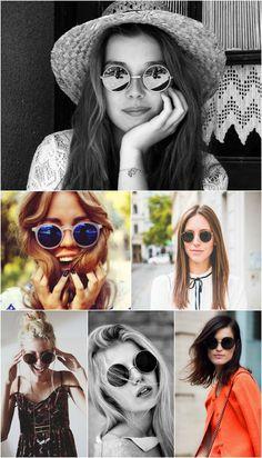 Óculos de sol redondo: charme adicional a qualquer look.                                                                                                                                                                                 Mais