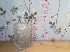 Vintage lead crystal decanter Square decanter Whisky