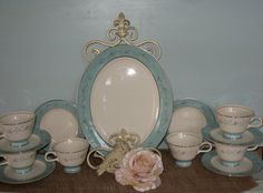 Treasury Item, Aqua Blue trimmed Vintage China,Turquoise Melody, Forget me Not, Serving Platter,Teacups and Saucers