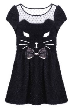"ROMWE | ""Black Kitty"" Dress, The Latest Street Fashion I need this. Haha! But seriously, I want this."