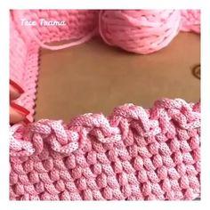 Easy Crochet Stitches, Crochet Edging Patterns, Crochet Basket Pattern, Crochet Motifs, Crochet Designs, Crochet Hooks, Free Crochet, Knitting Patterns, Diy Crochet Basket