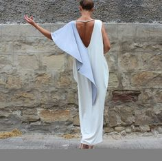 White Backless dress Maxi Dress Caftan Off by cherryblossomsdress