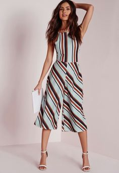 Shop for Candy Stripe Culotte Jumpsuit Blue, Grey by Missguided at ShopStyle. Cool Outfits, Summer Outfits, Casual Outfits, Fashion 2017, Fashion Dresses, Look Chic, Jumpsuits For Women, Day Dresses, Casual Looks