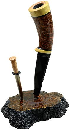 Tom Eltang Smooth Knife Pipe with Stand and Tamper (Snail)