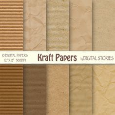 Kraft digital paper Craft Papers Craft Textured by DigitalStories, €2.80