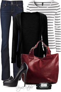 """Seeing Red"" by orysa on Polyvore - love the red bag"