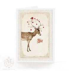 Deer card, Christmas card, reindeer, holiday card, Valentine card, love, robins, red hearts, antlers, birthday card