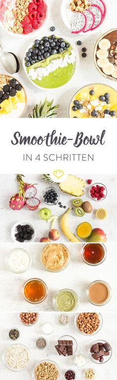 Ist das ein – Smoothie? Fast! Das, was da so vor sich her leuchtet, ist eine Smoothie Bowl – ein Smoothie zum Löffeln quasi. Also doch ein Smoothie? Nein, nicht ganz! Anders als beim Smoothie kommen bei einer Smoothie Bowl Toppings auf das pürierte Obst. Nüsse oder Mandeln. Beeren oder Bananen. Erdnussbutter oder Kokosflocken. Und für alle Fitness-Foodies: Chia-Samen und Quinoa-Crispies. Erinnert ein bisschen an … – Richtig: Acai Bowls!