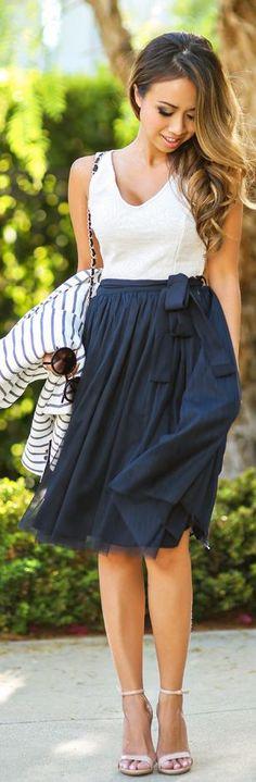 Morning Lavender Navy Pleated Tulle  Layered Waist Tie Midi Skirt