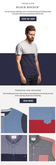Frank & Oak : Trend + Color Blocking : Email design #emailmarketing #emaildesign