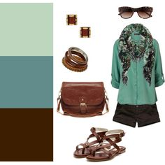 thinking  of these colors in my house. Brown as accent wall in living room, darker teal curtains and pillows, and mint green for kitchen.