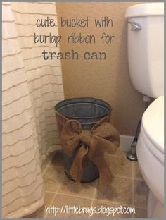 A cute way to pretty up a useful but normally unattractive item. Inexpensive too! Bathroom decor