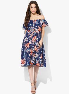 152361cbdb7 Buy AKS Couture Blue coloured Printed Off-Shoulder Dress Online - 3027484 -  Jabong