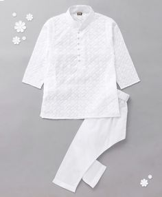 06581a44 Buy Enfance Chickan Stylish Embroidery Kurta Pyjama Set White for Boys (5-6  Years