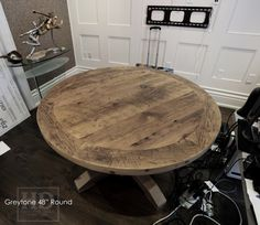 Round Reclaimed Wood Table Grey Office
