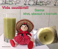 Suco de kiwi, abacaxi e hortelã. Excelente combinação!