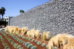 Tall Gabion, Gabion Wall  Retaining and Landscape Wall  Grounded Landscape Architecture and Planning  Encinitas, CA