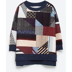 Zara Patchwork Sweatshirt (57 AUD) ❤ liked on Polyvore featuring tops, hoodies, sweatshirts, sweat shirts, sweatshirts hoodies, patchwork tops and sweat tops