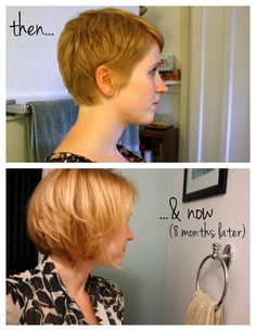 eight months to grow out a pixie, this lady knows what she's talking about when it comes to the short do! Love her little blog on the pixie process, read it if your thinking about going pixie!