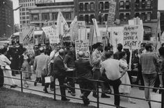 Beatniks at City Hall protesting against closing of Greenwich village coffee houses.; NYC; June 1960; Photographer:	Bob Gomel