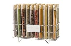 A large sampling of the best spices the world has to offer, in clear test tubes on a stainless steel spice rack. Includes a specially designed spoon. Kitchen Kit, Kitchen Hacks, Stainless Steel Spice Rack, Cool Gifts, Best Gifts, Salad Shop, Spice Shop, Spice Mixes, Corporate Gifts