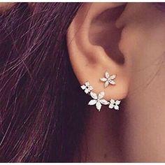 Three Diamond Flower Ear Jackets-Earrings-Body Kandy Couture