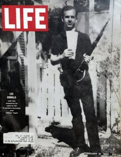 """For decades, conspiracy theorists have claimed the famous """"backyard photo"""" of Lee Harvey Oswald, which shows him holding the same type of rifle used to assassinate JFK, is a fake—a claim that Oswald himself made when he was arrested. Life Magazine, Magazine Rack, Kennedy Assassination, Famous Pictures, Life Pictures, Life Cover, Jfk Jr, Jackie Kennedy, Assassin"""
