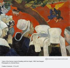 Vision after the Sermon Jacob Wrestling with the Angel Post Impressionism Paul Gauguin Painting in Oil for Sale Paul Gauguin, Jaco, Oil On Canvas, Canvas Prints, Oil Painting Reproductions, Art Institute Of Chicago, Tahiti, Oeuvre D'art, Van Gogh