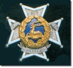 British Empire: Armed Forces: Units: British Infantry: The Sherwood Foresters (Nottinghamshire and Derbyshire Regiment) Officer's Glengarry Badge 1881 This badge was worn on the undress cap and is of silver and gilt with blue enamel. It is similar to the one worn on the peaked forage cap except that it has no crown at the top. This is from a Bosley auction catalogue.